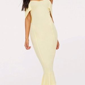 Lemon Frill Hem Midi Dress